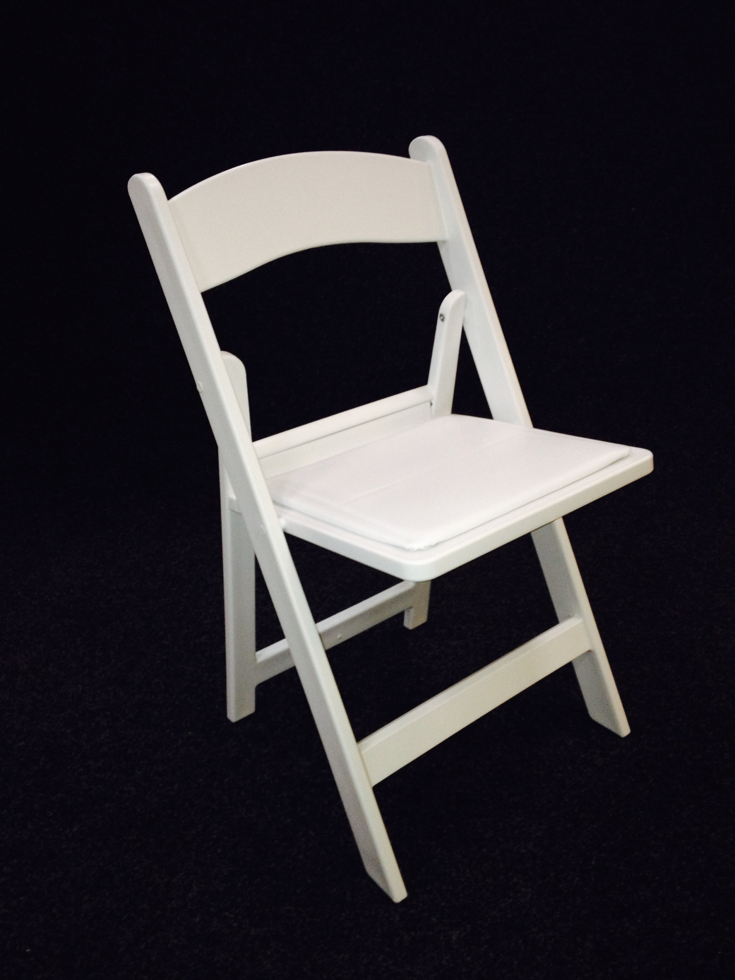 White folding chairs with padded seat for hire Maidman s Marquees